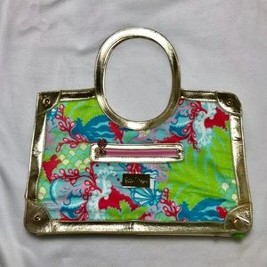Lilly Pulitzer Resort Tote Surf Blue Multi & Gold